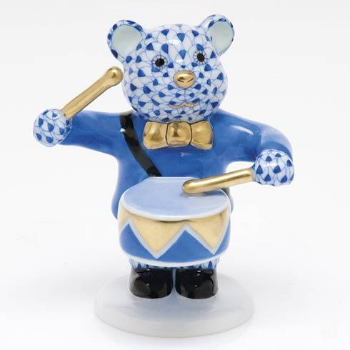Herend Figurine's Bears Little Drummer Bear - Sapphire $375.00