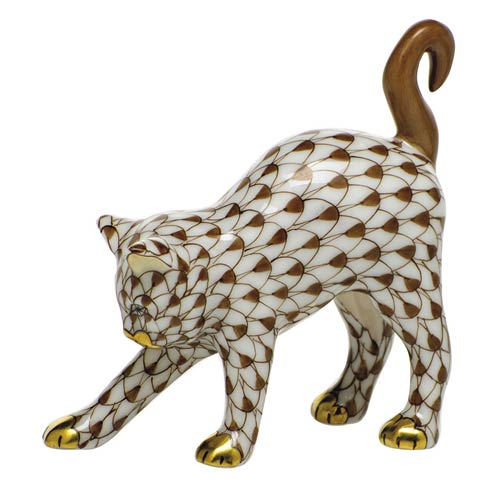 Herend Figurines Cats Arched Cat-Chocolate $285.00