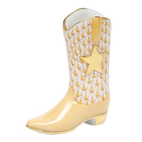 Herend Figurines Miscellaneous Cowboy Boot - Butterscotch $195.00