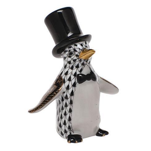 Herend Figurine's Waterfowl Tuxedo Penguin - Black $295.00