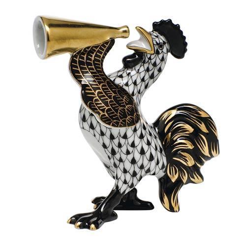 Herend Figurines Roosters & Hens Crowing Rooster -  Black $350.00