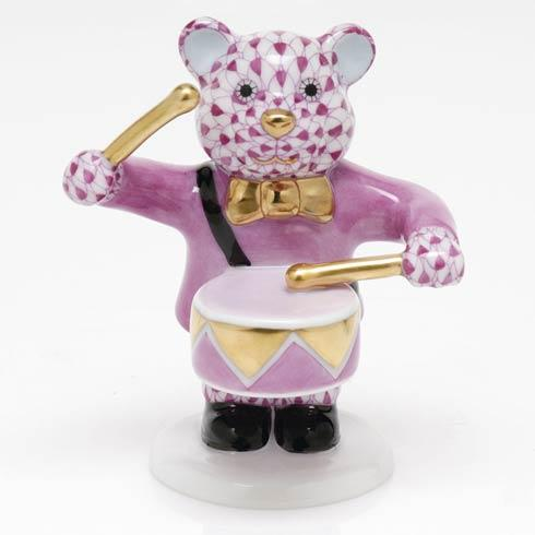 $375.00 Little Drummer Bear - Raspberry
