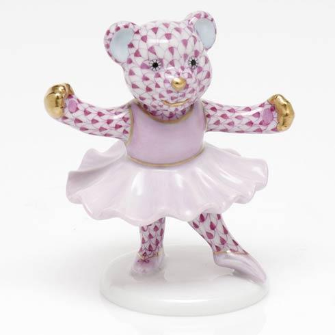 Herend Figurine's Bears Ballerina Bear - Raspberry $325.00