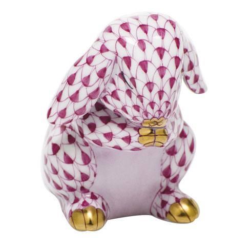 Herend Figurines Bunnies Praying Bunny - Raspberry $235.00
