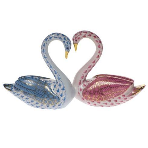$695.00 Kissing Swans - Pink & Blue