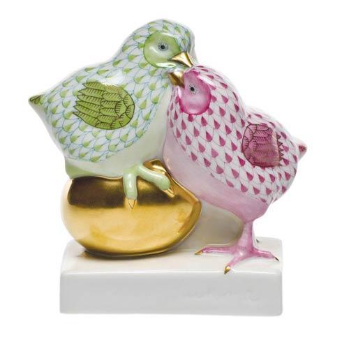 $435.00 Pair Of Chicks On Golden Egg