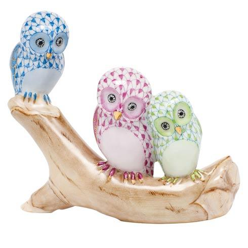 Owls on Branch - Multicolor