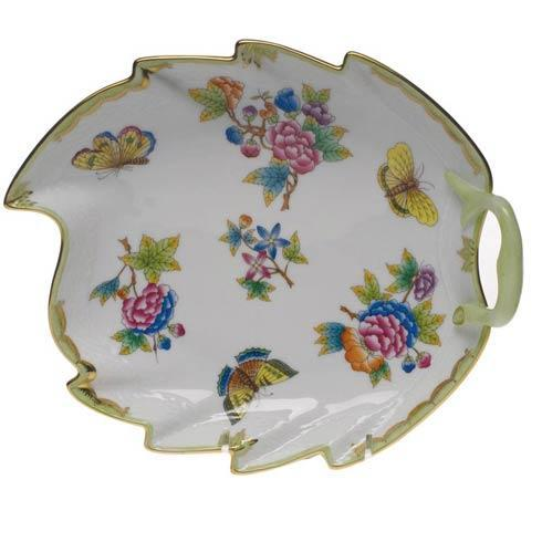 Herend Queen Victoria Green Border Leaf Dish $350.00