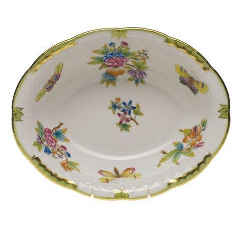 Herend Collections Queen Victoria Green Border Oval Veg Dish $275.00