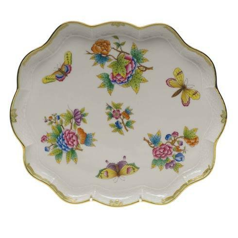 Herend Collections Queen Victoria Green Border Scallop Tray $435.00