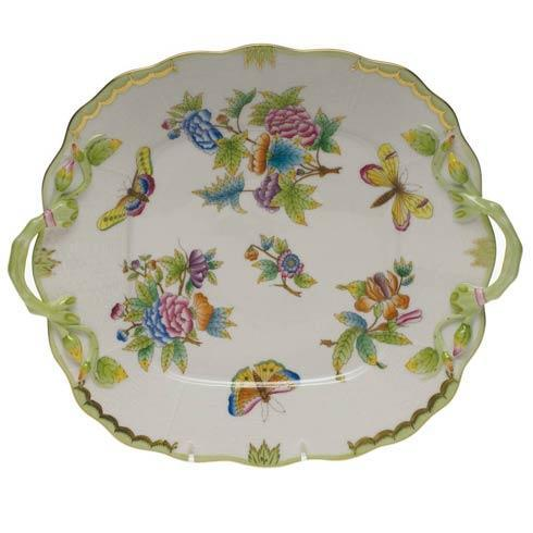 Herend Queen Victoria Green Border Square Cake Plate W/Handles $490.00