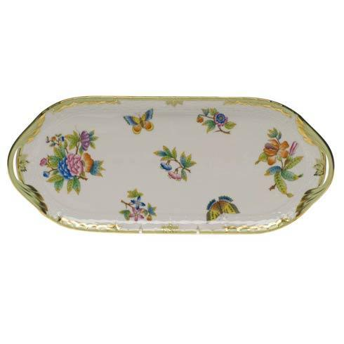 Herend Queen Victoria Green Border Sandwich Tray $400.00