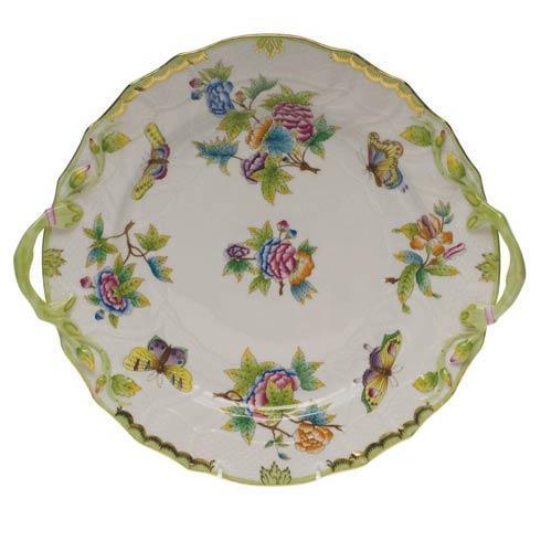 Herend Queen Victoria Green Border Chop Plate W/Handles $560.00