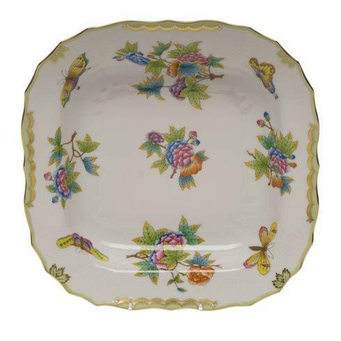 Herend Queen Victoria Green Border Square Fruit Dish $435.00
