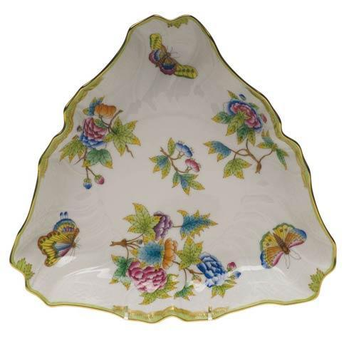 Herend Queen Victoria Green Border Triangle Dish $335.00