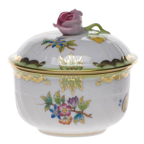 Herend Collections Queen Victoria Green Border Cov Sugar W/Rose $210.00