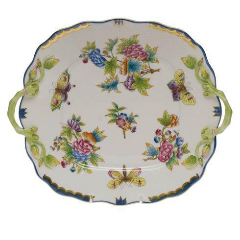 Herend Queen Victoria Blue Border Sq Cake Plate W/Handles $490.00