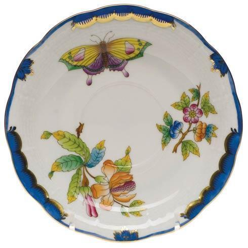 Herend Collections Queen Victoria Blue Border Tea Saucer $80.00