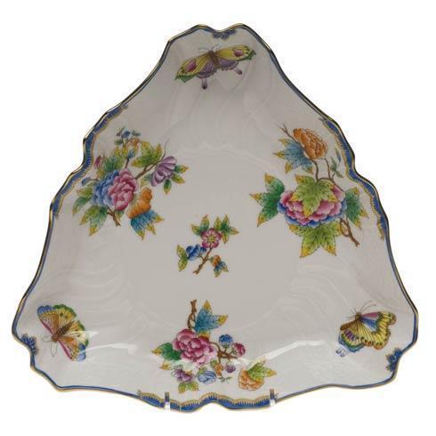 Herend  Queen Victoria Blue Border Triangle Dish $335.00