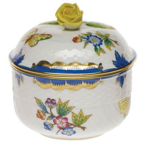 Herend Queen Victoria Blue Border Cov Sugar W/Rose $235.00