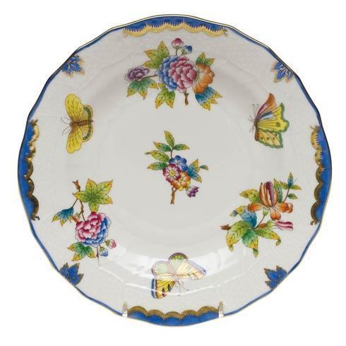 Herend Queen Victoria Blue Border Dessert Plate $175.00