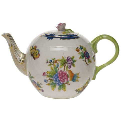 Herend Queen Victoria Blue Border Tea Pot W/Rose $425.00