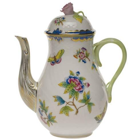 Herend Queen Victoria Blue Border Coffee Pot W/Rose $500.00