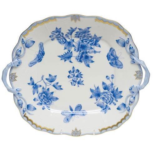 Herend  Fortuna Blue Square Cake Plate W/Handles $490.00