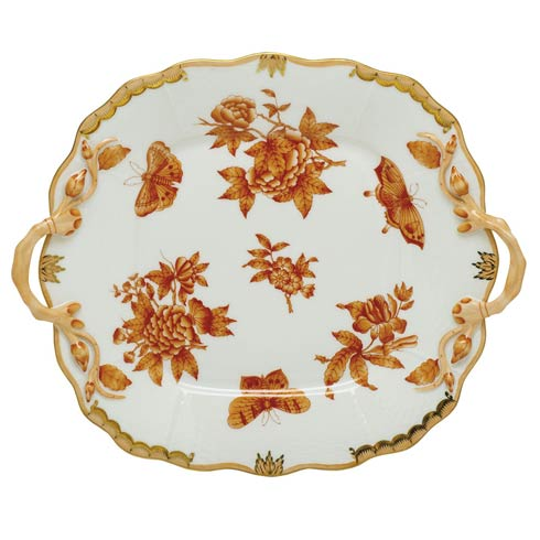 Herend  Fortuna Rust Square Cake Plate with Handle - Multicolor $490.00