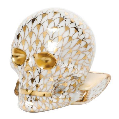 Herend Figurine's Mythical & Folk Skull - Gold $325.00