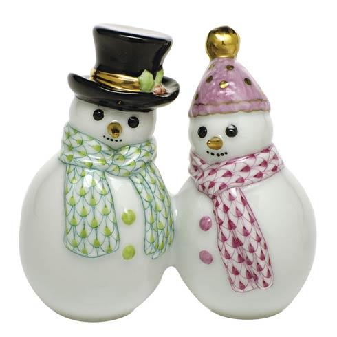 Herend Figurines Miscellaneous Snowman Couple-Multicolor $335.00