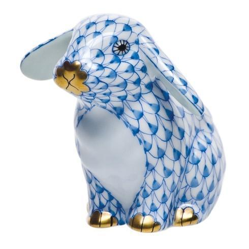 Herend Figurines Bunnies Sitting Lop Ear Bunny - Blue $225.00
