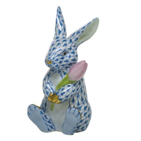 Herend Figurine's Bunnies Blossom Bunny - Blue $535.00