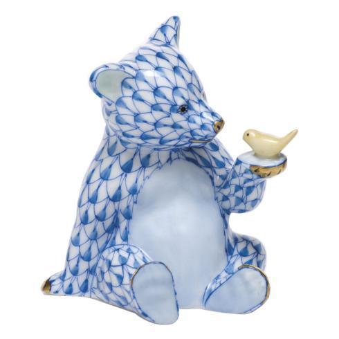 Bear with Bird - Blue