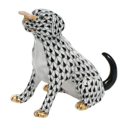 Herend Figurine's Dogs Max w/bone - Black $340.00