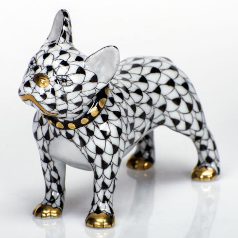 Herend Figurines Dogs Frenchie - Black $365.00