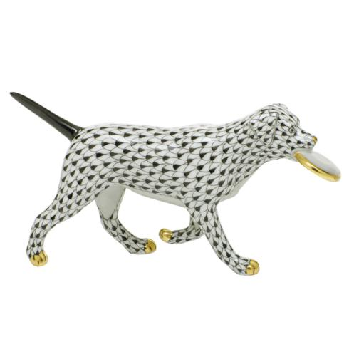 Herend Figurines Dogs Frisbee Dog - Black $395.00