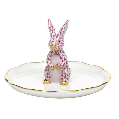 Herend Home Accessories Garnishments Bunny Ring Holder - Raspberry $275.00