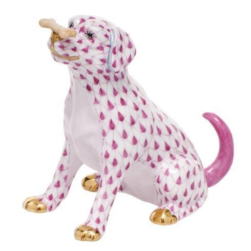 Herend Figurine's Dogs Max w/bone - Raspberry $340.00