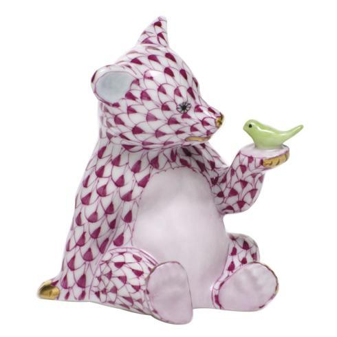 $390.00 Bear with Bird - Raspberry