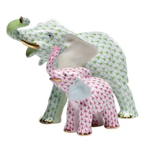 $1,390.00 Mother & Baby Elephant - Lime + Raspberry