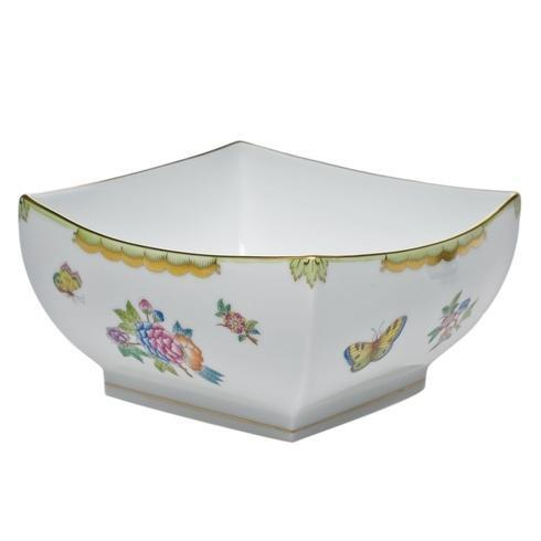 Herend Queen Victoria Green Border Large Square Bowl $495.00