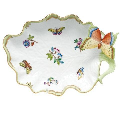 Herend  Queen Victoria Green Border Large Leaf Dish - Multicolor $500.00