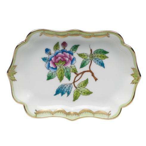 Herend Collections Queen Victoria Green Border Mini Scalloped Tray $165.00