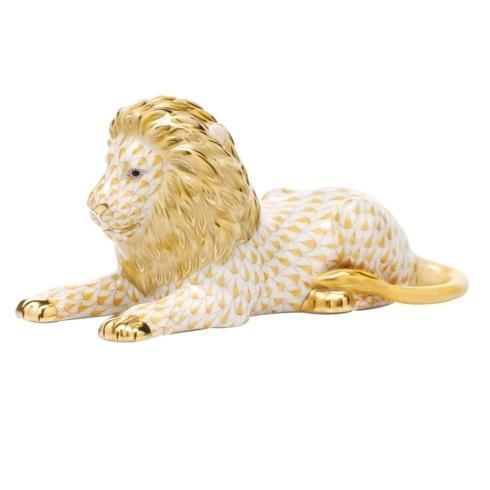 Herend Figurines Lions & Tigers Lion - Butterscotch $495.00