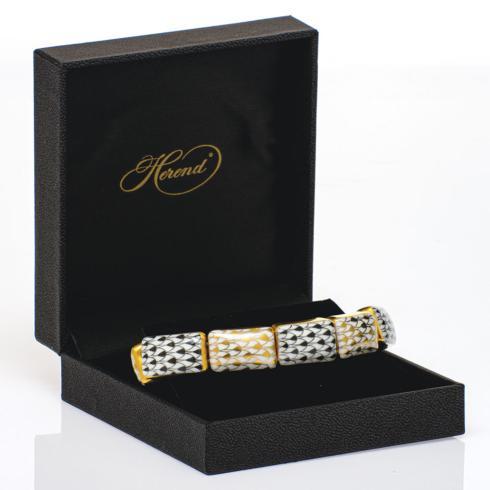 $395.00 10 Link Bracelet Black + Gold