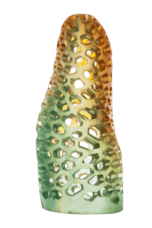 $10,300.00 Large amber green sculpture with light base inside