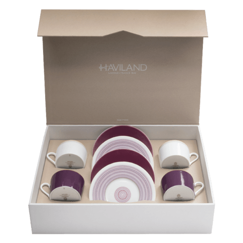 $486.00 Magnolia Set of 4 tea cups & saucers ( 2 aubergine + 2 small band )