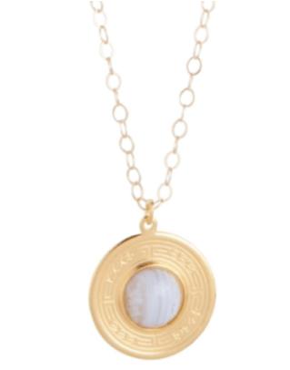 """$78.00 16"""" Charm Necklace - Blue Lace Agate"""