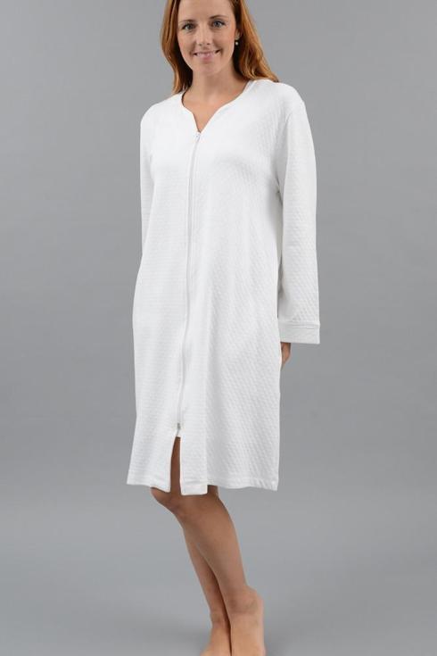 Diamond Zip Robe, Short - White